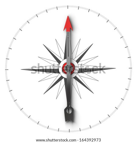 Top view illustration of a compass over white background, symbol of orientation and good direction. - stock photo