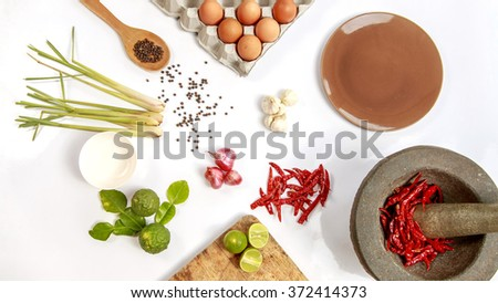 Top view Ingredients for Cooking Thailand on white background - stock photo
