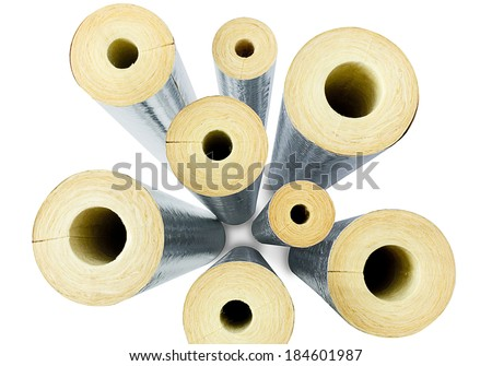 Top view insulator pipes use in the industrial or petrochemical plant the image isolated on white - stock photo
