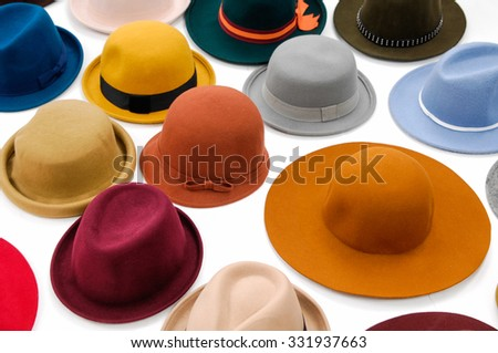 Top view many woman hat isolated  - stock photo