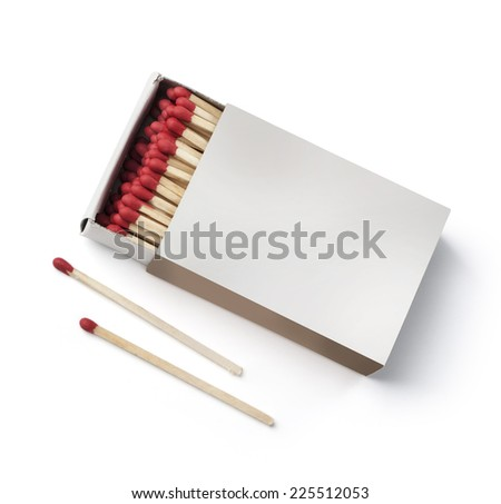 top view matchbox on white with clipping path - stock photo