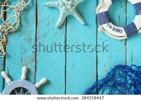 top view nautical concept with nautical life style objects  - stock photo