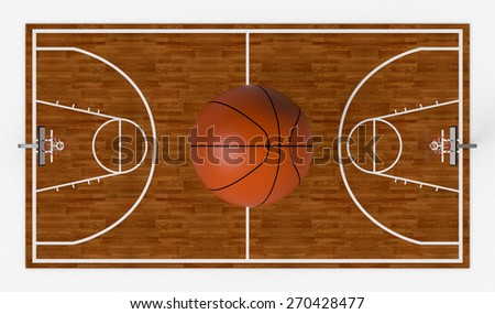 top view of a basketball field with a big ball on white background (3d render) - stock photo