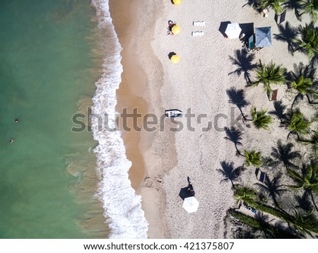 Top View of a beach in Bahia, Brazil - stock photo