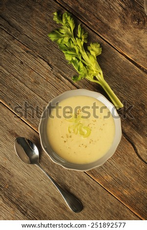 Top view of a bowl of celery soup on a rustic background - stock photo