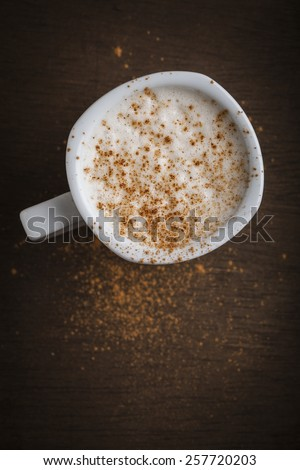 Top view of a cappuccino coffee cup - stock photo
