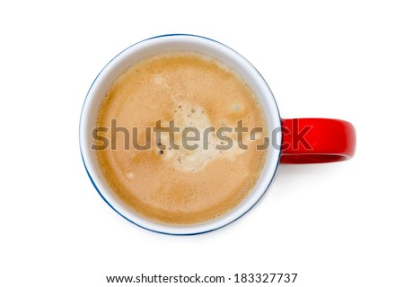 Top view of a cup of coffee, isolate on white, blue red mug - stock photo