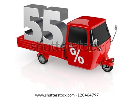 top view of a mini truck with the number fifty five on the back and the percent symbol on the door (3d render) - stock photo