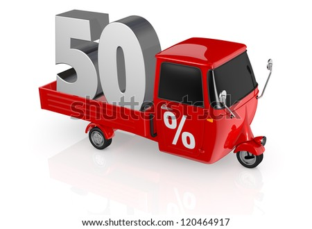 top view of a mini truck with the number fifty on the back and the percent symbol on the door (3d render) - stock photo