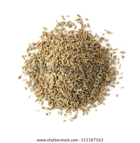 Top view of a pile of anise spice isolated on white background - stock photo