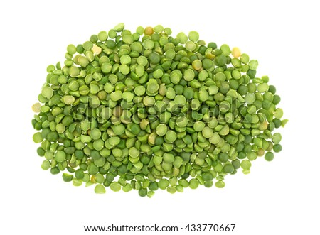 Top view of a portion of organic green split peas isolated on a white background. - stock photo