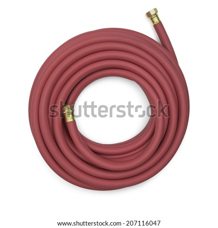 Top View of a Red Garden Hose Isolated on a White Background. - stock photo