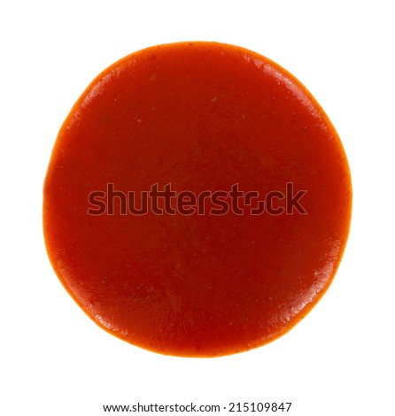 Top view of a round blob of red taco sauce on a white background. - stock photo