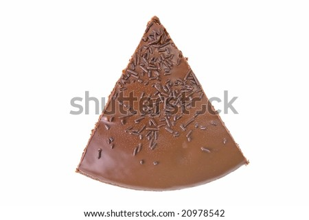 Top view of a slice of chocolate fudge cake with sprinkles detail on white - stock photo