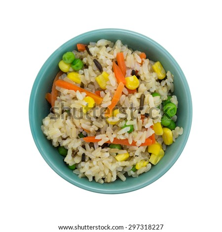 Top view of a small serving of brown and wild rice with peas, carrots and corn in a bowl isolated on a white background. - stock photo