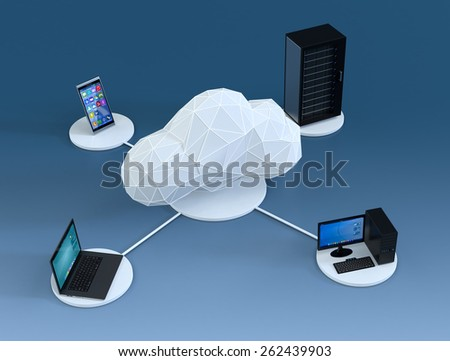 top view of a smartphone, a computer notebook, a desktop pc, a computer server cabinet, the devices are connected to a cloud made with the technique of low poly modeling, blue background (3d render) - stock photo