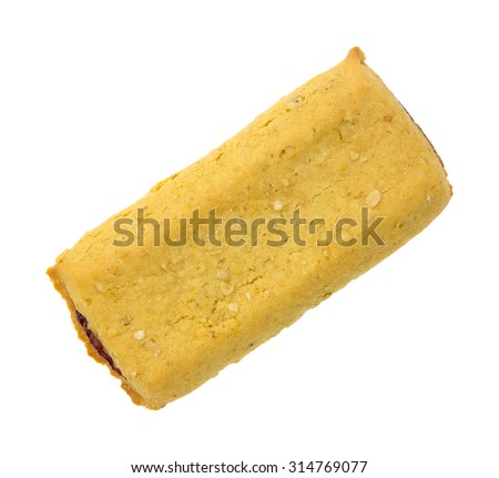 Top view of a soft strawberry cereal bar on a white background. - stock photo