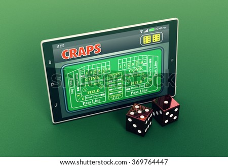 top view of a tablet pc with a craps app and a couple of dice on green background (3d render) - stock photo