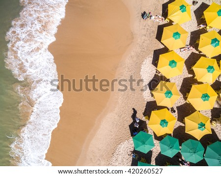 Top View of a Tropical Beach - stock photo