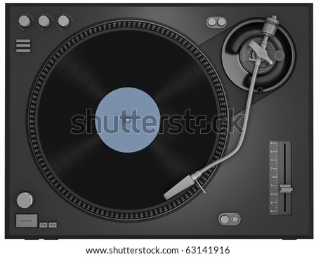 Top view of a turntable with vinyl record. 3D rendered illustration. - stock photo