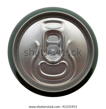 Top view of aluminum can for beverages. Isolation. - stock photo