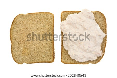 Top view of an open faced tuna sandwich on whole wheat bread atop a white background. - stock photo