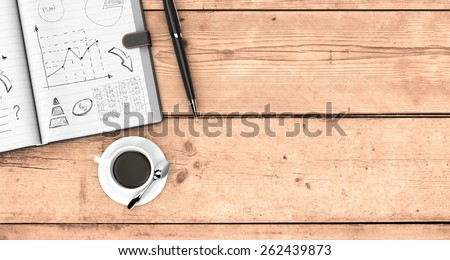 top view of an open paper notebook, a pen and a cup of coffee. hand drawn doodles of business plan, some space for custom text at the right, wooden background (3d render) - stock photo