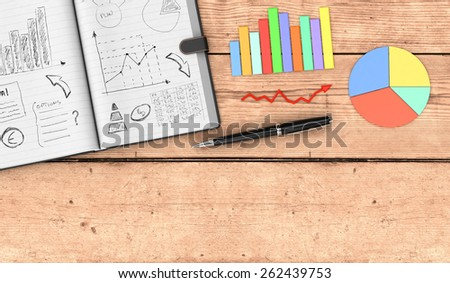 top view of an open paper notebook, a pen, business charts. hand drawn doodles of business plan, some space for custom text at the bottom, wooden background (3d render) - stock photo