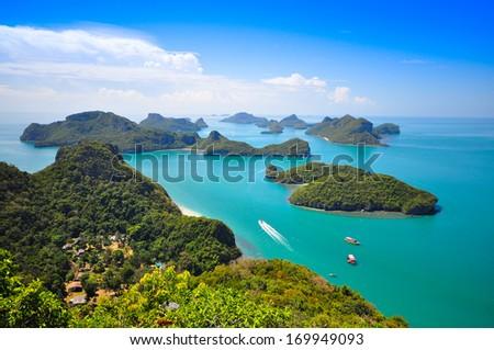 Top view of Ang Thong National Marine Park in Phang-Nga, Thailand - stock photo