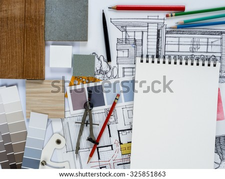 Top view of architect & interior designer  working as home decoration and renovation concept - stock photo