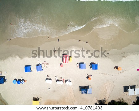 Top view of beach - stock photo
