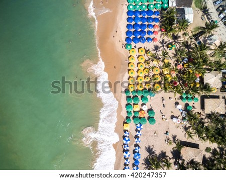Top view of Beach in Brazil - stock photo