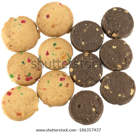 Top view of black and white cookies isolated on white background - stock photo