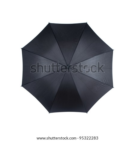 Top view of black umbrella isolated on white background - stock photo