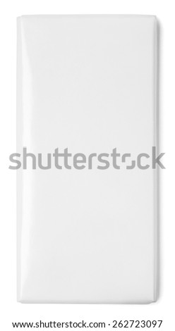 Top view of blank chocolate Bar Package isolated on white - stock photo