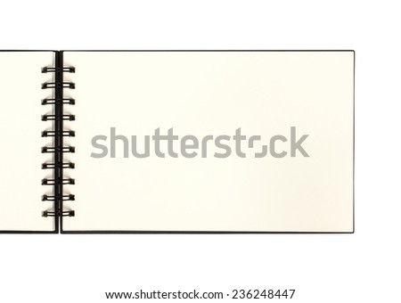Top view of blank open notebook or sketchbook - stock photo