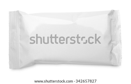 Top view of blank plastic pouch food packaging isolated on white background - stock photo