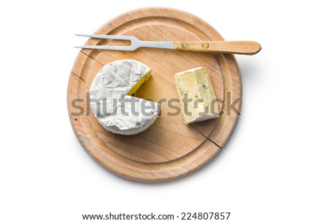 top view of blue cheese on cutting board - stock photo