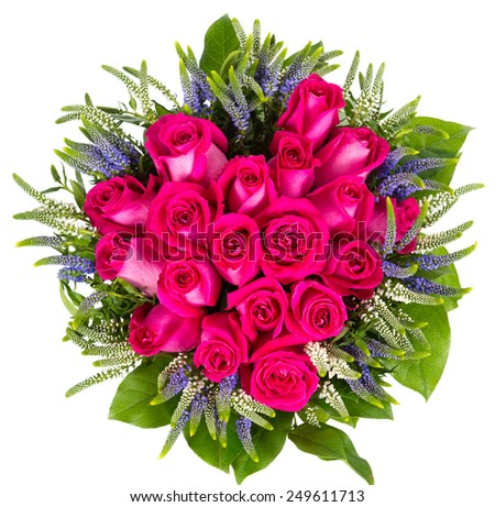 Top view of bouquet of red roses isolated on white background - stock photo
