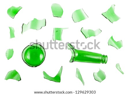 Top view of broken green bottle isolated on white background - stock photo