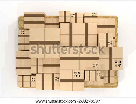 Top view of brown cardboard package box stack. - stock photo