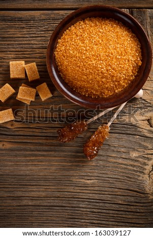 Top view of brown sugar - stock photo