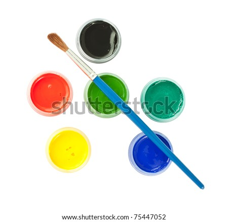 Top view of brush and colorful paint cans isolated on white background - stock photo