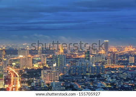 top view of buiding city scape in Bangkok, Thailand - stock photo