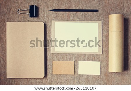 Top view of business identity mock up item set with vintage filter effect  - stock photo