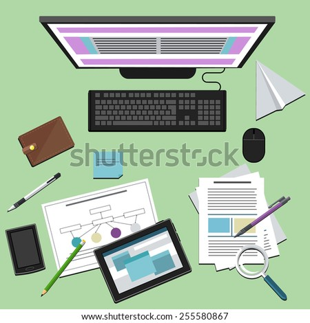 Top view of business people workplace with computer, digital tablet, smartphone and different office elements. Raster version - stock photo