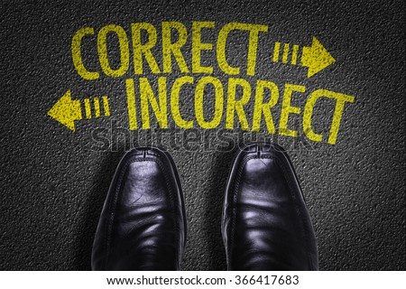 Top View of Business Shoes on the floor with the text: Correct - Incorrect - stock photo