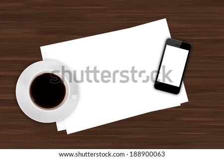 Top view of business workplace, smart phone with white blank empty screen, cup of black coffee drink and note papers on wooden office table. - stock photo