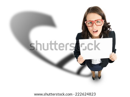 Top view of businesswoman with white blank banner - stock photo