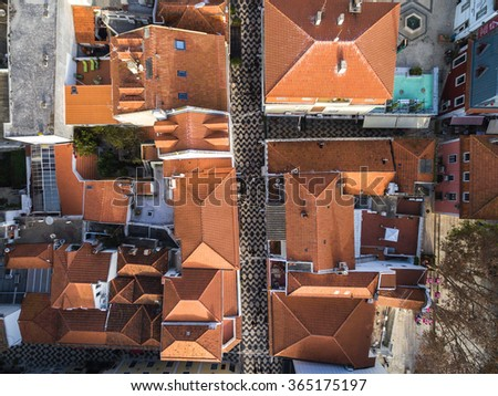 Top View of Cascais Streets, Portugal - stock photo